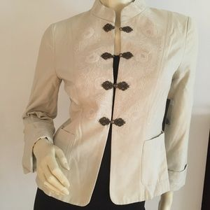 nic + Zoe mandarin collared jacket with embroidery